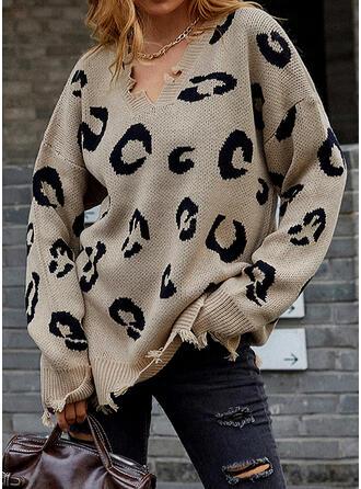Nadruk lampart Dekolt w kształcie litery V Nieformalny Swetry
