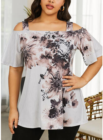 Print Floral Cold Shoulder Flare Sleeve 1/2 Sleeves Casual Plus Size Blouses
