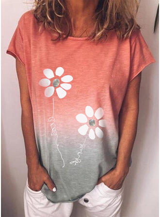 Figure Floral Gradient Print Round Neck Short Sleeves T-shirts