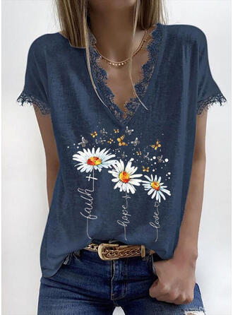 Floral Animal Print Lace V-Neck Short Sleeves Casual Blouses