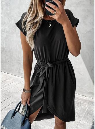 Solid Short Sleeves Sheath Asymmetrical Little Black/Casual Dresses