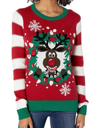 Damskie Poliester W paski Renifer Brzydki świąteczny sweter