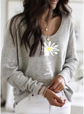 Nadruk Kwiatowy Okrągły dekolt Długie rękawy Casual T-shirty