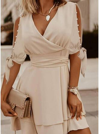 Jednolita/Wysadzana perełkami Rękawy 1/2 W kształcie litery A Nad kolana Elegancki Łyżwiaż Sukienki