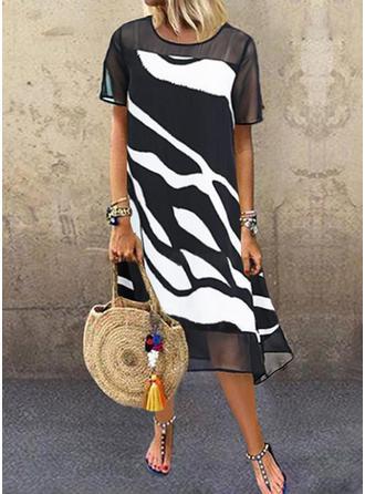 Nadrukowana Krótkie rękawy Koktajlowa Casual Midi Sukienki