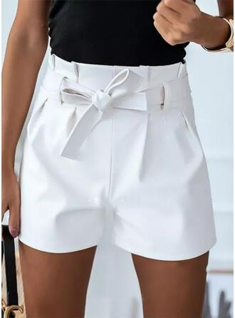 Jednolity Nad kolanem Nieformalny Duży rozmiar Lace Up shirred Spodnie Szorty