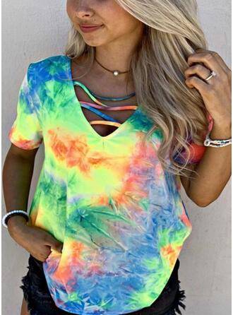 Tie Dye V-Neck Short Sleeves Casual Blouses