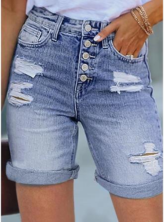 Jednolity Dżinsowa Nad kolanem Nieformalny Duży rozmiar Ripped Przycisk Spodnie Szorty Dżinsy