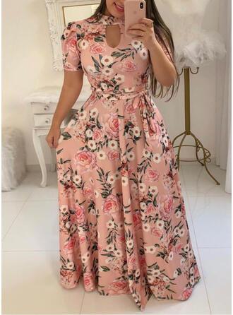 Duży rozmiar Kwiatowy Nadruk Krótkie rękawy Sukienka Trapezowa Maxi Nieformalny Wakacyjna Sukienka