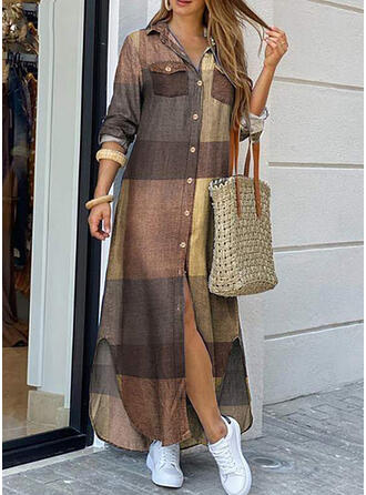 W kratę Długie rękawy Koktajlowa Koszula Casual Maxi Sukienki
