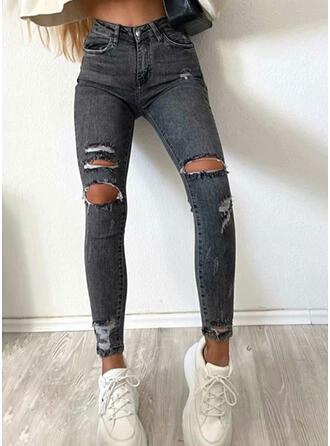Jednolity Dżinsowa Długo Nieformalny Wakacyjna Duży rozmiar Pocket Ripped Spodnie Dżinsy
