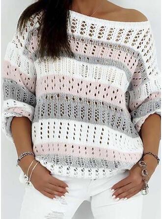 Blok Kolorów Na jedno ramię Casual Swetry