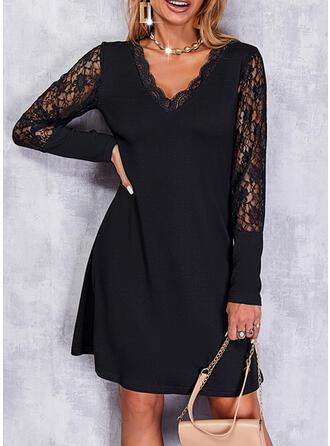 Jednolity Koronka Długie rękawy Sukienka Trapezowa Nad kolana Mała czarna/Elegancki Łyżwiaż Sukienki