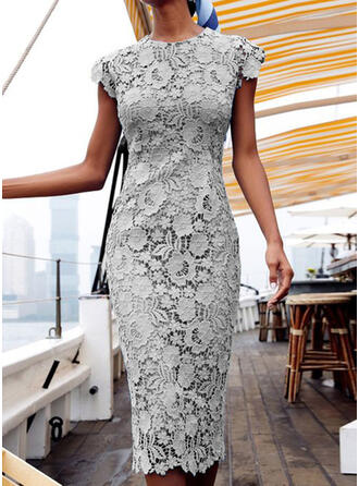 Lace/Solid Cap Sleeve Bodycon Pencil Casual/Elegant Midi Dresses