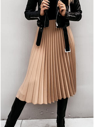 Cotton Blends Plain Mid-Calf Pleated Skirts A-Line Skirts