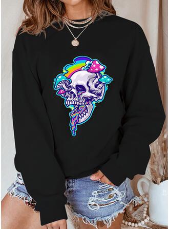 Halloween Nadruk Skull Head Okrągły dekolt Długie rękawy Bluza