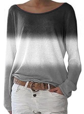 Tie Dye Okrągły dekolt Długie rękawy Casual T-shirty