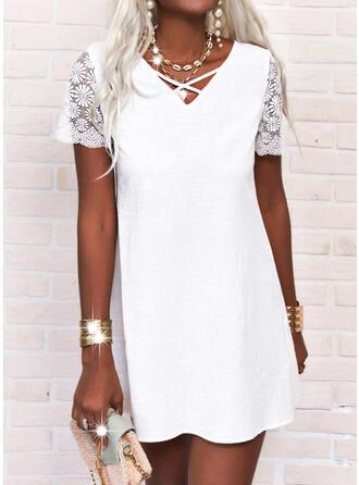 Jednolity Krótkie rękawy Sukienka Trapezowa Nad kolana Nieformalny Łyżwiaż Sukienki
