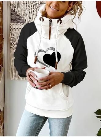 Print Color Block Sequins Long Sleeves Hoodie