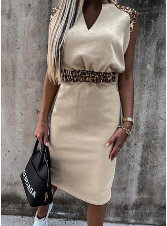 Leopard Sleeveless Bodycon Pencil Casual Midi Dresses