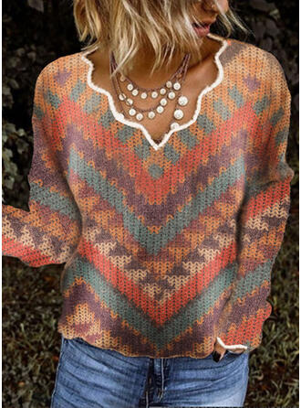 Nadruk Dekolt w kształcie litery V Nieformalny Swetry