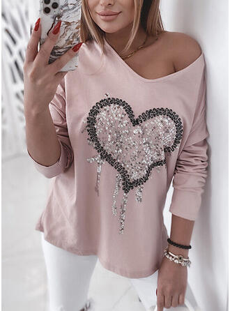 Heart Sequins V-Neck Long Sleeves T-shirts