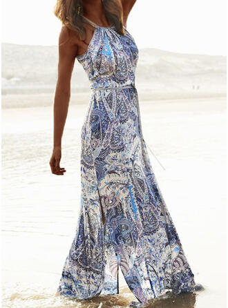 Print Sleeveless A-line Slip Casual/Boho/Vacation Maxi Dresses
