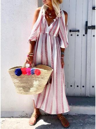 Nadrukowana Odkryte ramię W kształcie litery A Casual/Wakacyjna Maxi Sukienki