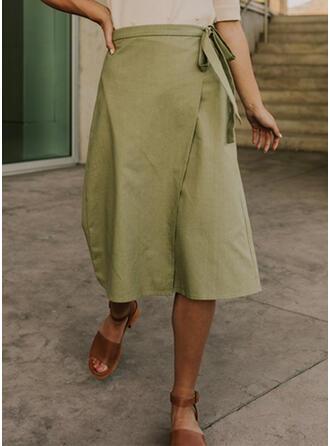 Polyester Plain Maxi A-Line Skirts