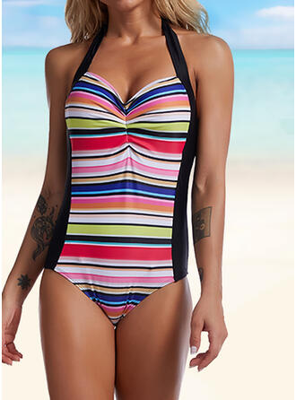 Solid Color Stripe Colorful Print Splice color Ruffles Lace Up V-Neck Sexy Colorful One-piece Swimsuits
