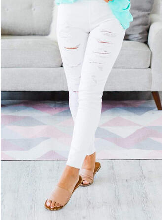 Solid Ripped Skinny Solid Denim & Jeans