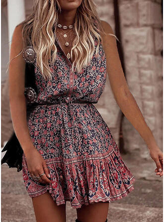Print/Floral Sleeveless A-line Above Knee Casual/Boho Skater Dresses