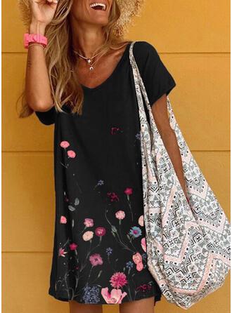 Nadrukowana/Kwiatowy Krótkie rękawy Koktajlowa Nad kolana Casual Sukienki
