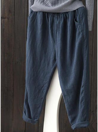 Kieszenie Marszczona Duży rozmiar midi Nieformalny Jednolity Spodnie