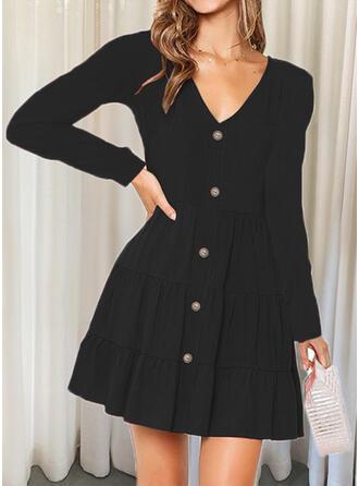 Jednolity Długie rękawy Sukienka Trapezowa Nad kolana Mała czarna/Nieformalny Łyżwiaż Sukienki
