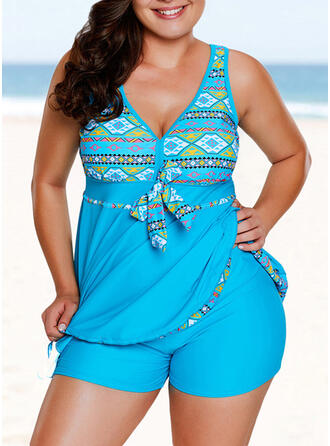 Geometric Strap V-Neck Fashionable Attractive Casual Tankinis Swimsuits