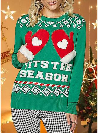 Damskie Nadruk Wytłaczany Brzydki świąteczny sweter