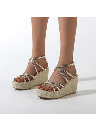 Women's PU Wedge Heel Espadrille Heel Sandals Pumps Platform Wedges Peep Toe With Buckle Hollow-out shoes