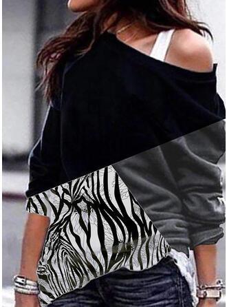 Wydrukować Blok Kolorów One Shoulder Długie rękawy Bluza