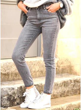 Jednolity Dżinsowa Długo Nieformalny Elegancki Duży rozmiar Pocket Dżinsy