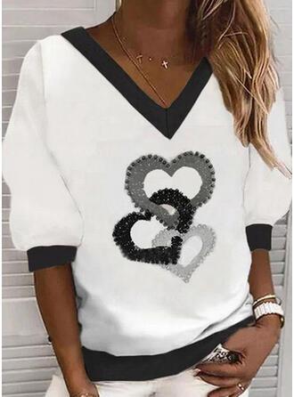 Nadruk Serce Dekolt w kształcie litery V Długie rękawy Bluza