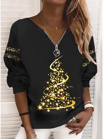 Boże Narodzenie Nadruk Dekolt w kształcie litery V Długie rękawy Świąteczna bluza