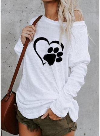 Zwierzęcy Na jedno ramię Długie rękawy Casual T-shirty