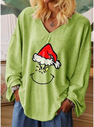 Nadruk Dekolt w kształcie litery V Długie rękawy Boże Narodzenie T-shirty