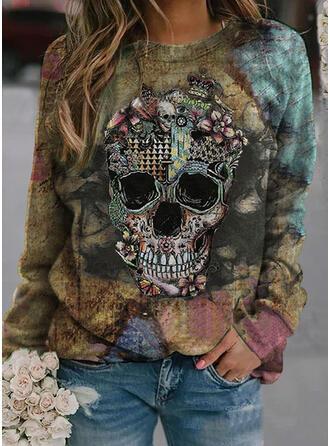 Halloween Nadruk Kwiatowy Skull Head Okrągły dekolt Długie rękawy Bluza