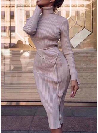 Jednolita Długie rękawy Bodycon Sweter Casual/Elegancki Midi Sukienki