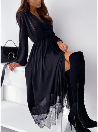 Koronka/Jednolita Długie rękawy W kształcie litery A Łyżwiaż Mała czarna/Casual Midi Sukienki