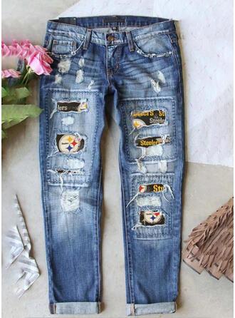 Print Plus Size Ripped Tribal Vintage Denim & Jeans