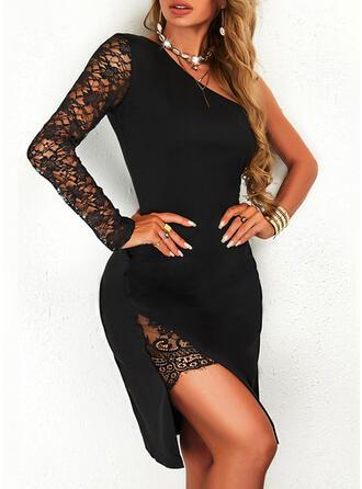 Jednolity Koronka Długie rękawy Bodycon Nad kolana Mała czarna/Nieformalny Sukienki