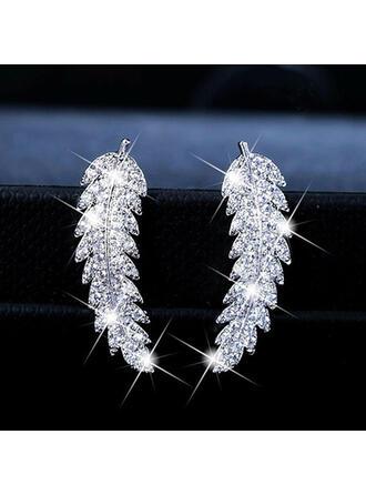 Charming Pretty Artistic Romantic Alloy With Rhinestone Leaf Women's Earrings